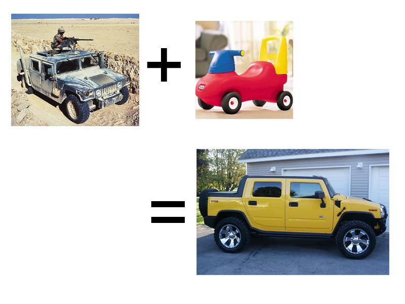 Hummer H2 equals Humvee plus Little Tykes plastic parts