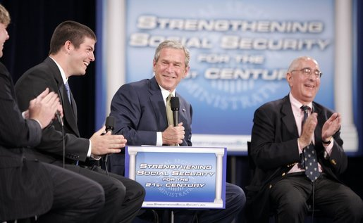 Ben Stein and George W.  Bush laugh it up
