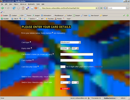 Radiohead's first HTML page.  I Kiss you!